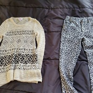 girl Justice sweater and leopard print jeggings